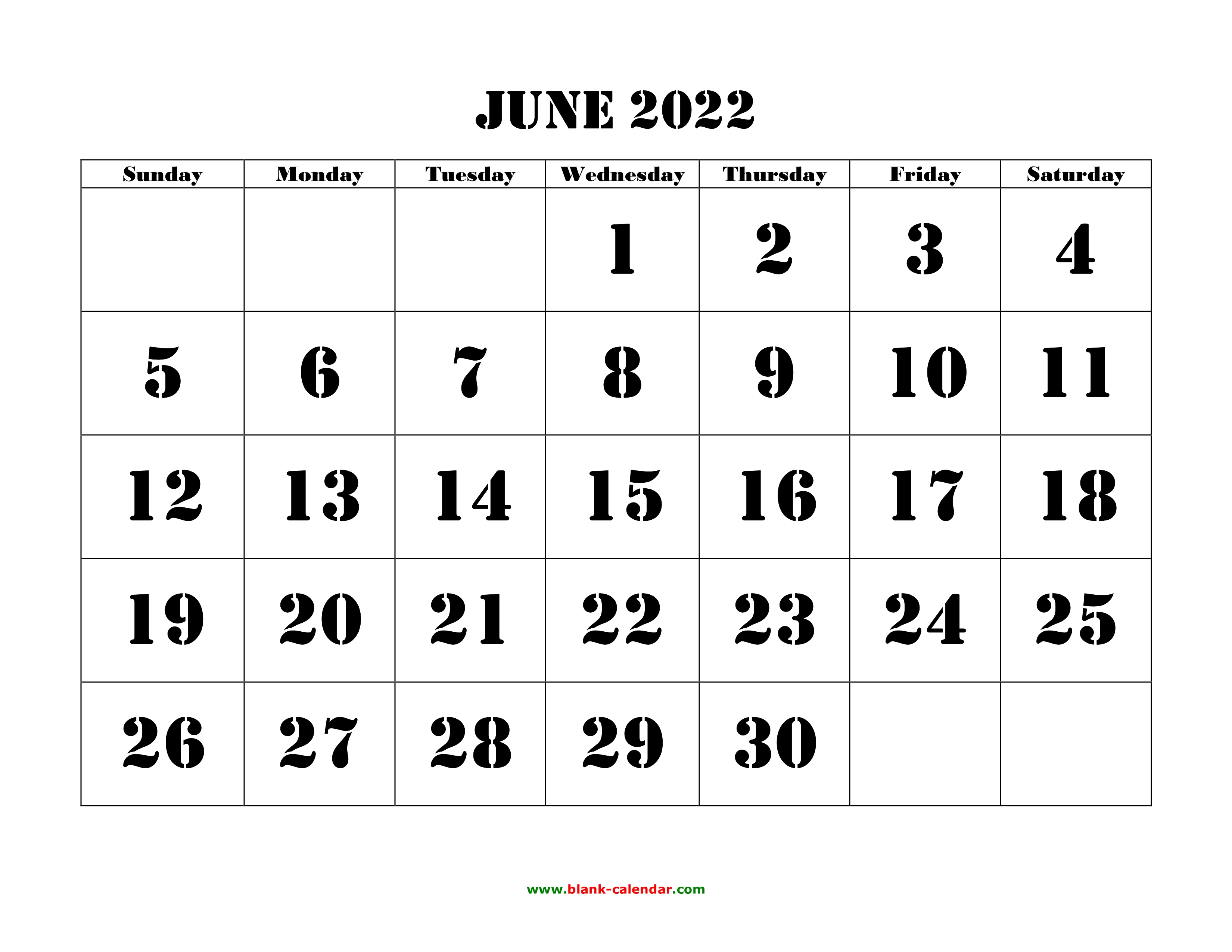 Blank Calendar For June 2022.June 2022 Printable Calendar Free Download Monthly Calendar Templates