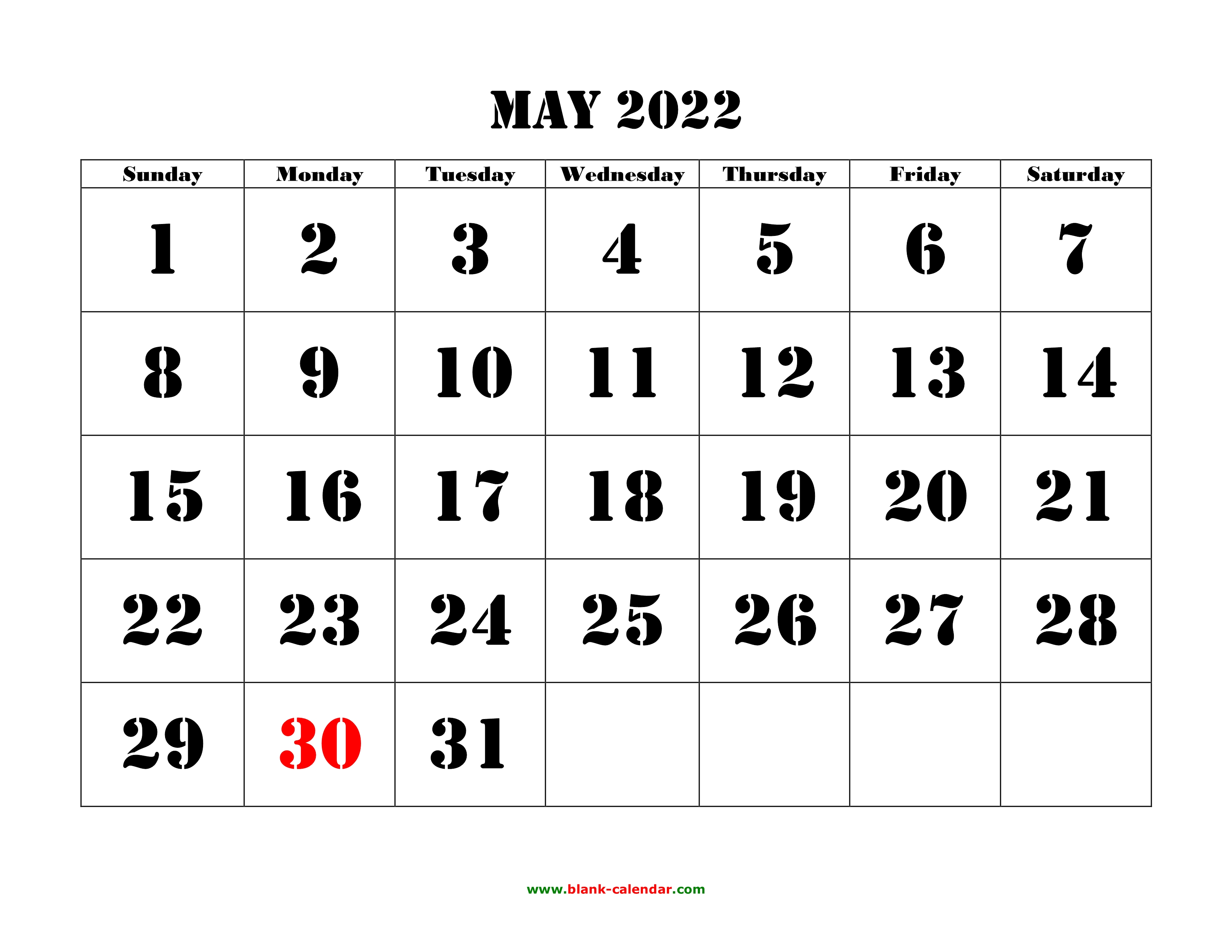 May 2022 Monthly Calendar.May 2022 Printable Calendar Free Download Monthly Calendar Templates