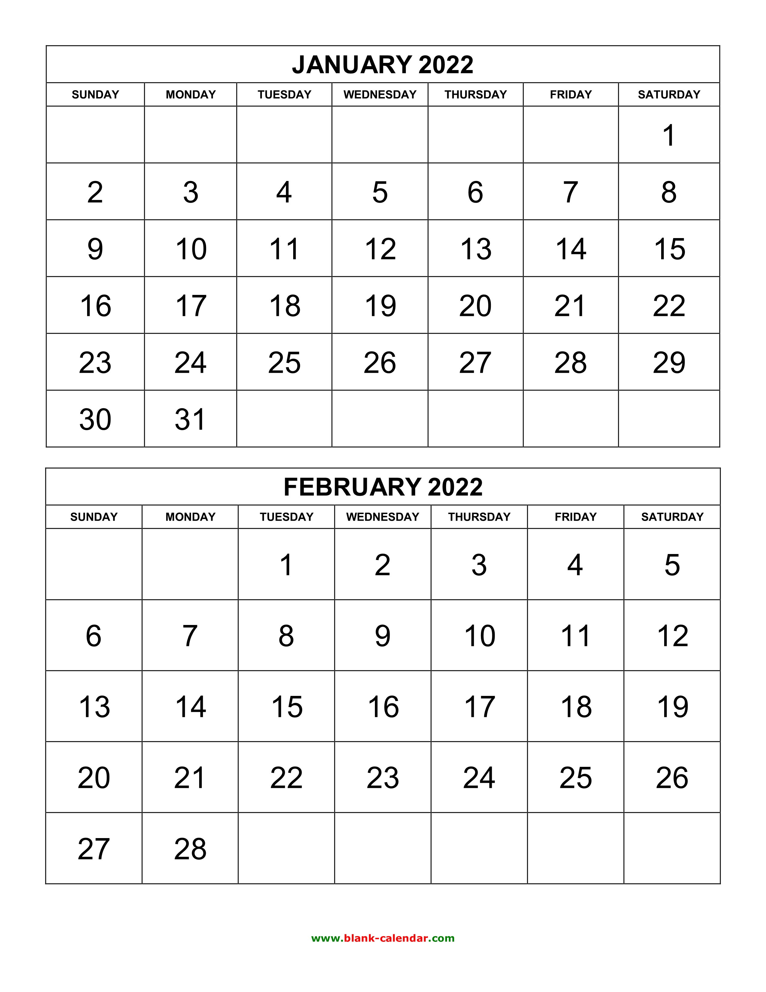 2 Page Monthly Calendar 2022 Printable.Free Download Printable Calendar 2022 2 Months Per Page 6 Pages Vertical