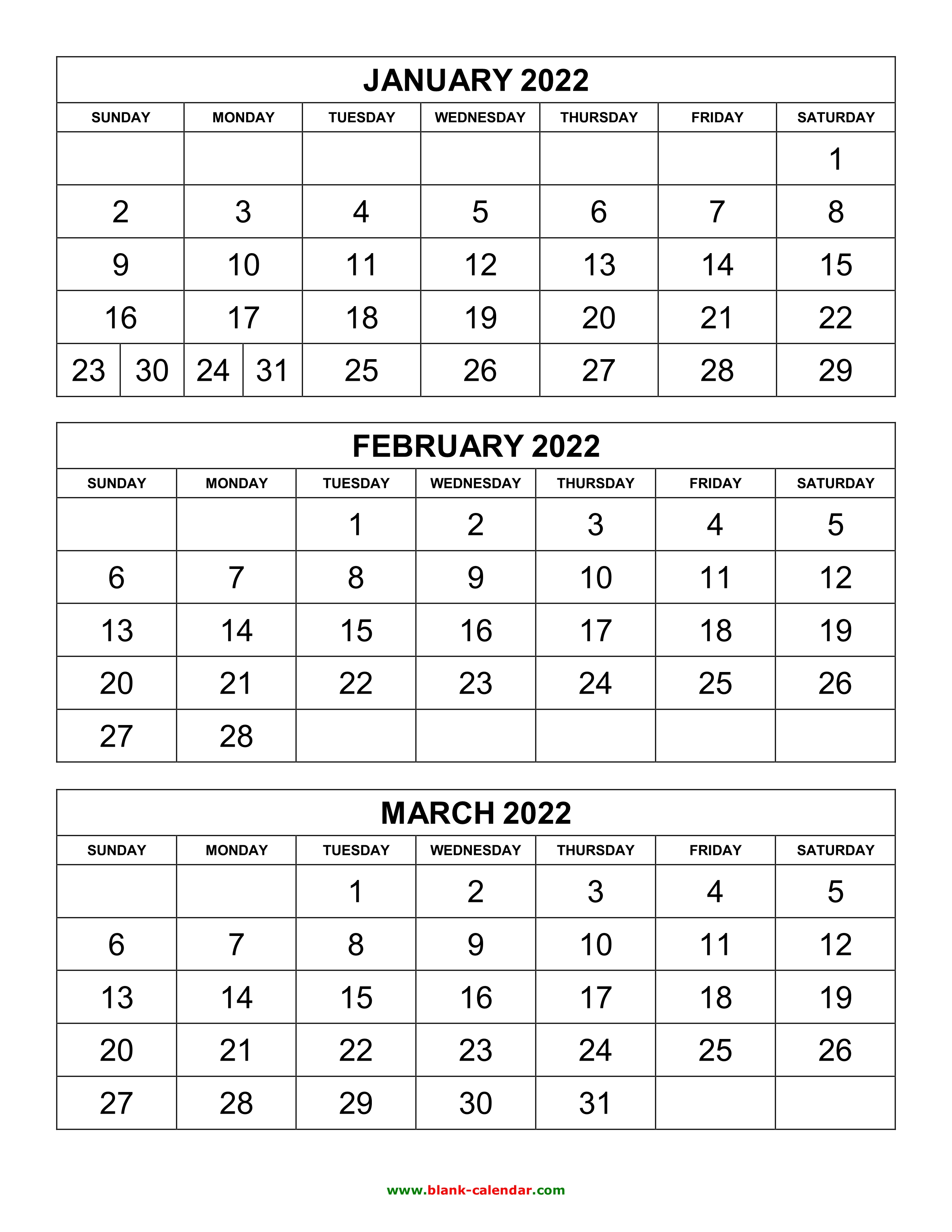 3 Month Calendar 2022.Free Download Printable Calendar 2022 3 Months Per Page 4 Pages Vertical