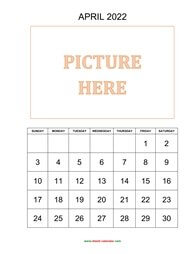 printable april calendar 2022 add picture