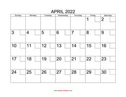 printable april calendar 2022 check boxes
