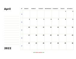 Printable April 2022 Calendar, large box, Federal Holidays listed, space for notes (horizontal)