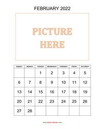 Printable February 2022 Calendar, pictures can be placed at the top (vertical)