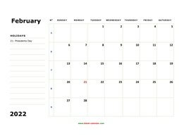 printable february calendar 2022 large box space notes
