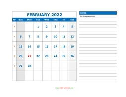 printable february calendar 2022 large space appointment notes