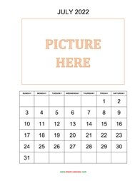 printable july 2022 calendar, pictures can be placed at the top