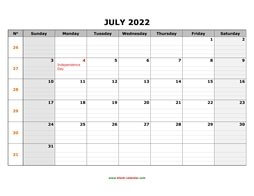printable july 2022 calendar large box grid, space for notes