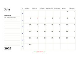 printable july 2022 calendar, large box, space for notes