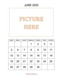 printable june 2022 calendar, pictures can be placed at the top