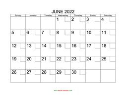 printable june 2022 calendar check boxes