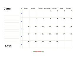 printable june 2022 calendar, large box, space for notes