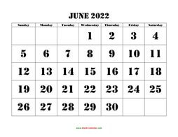 printable june 2022 calendar larger font