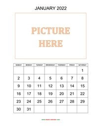 printable monthly calendar 2022, pictures can be placed at the top
