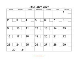 printable calendar 2022 check boxes