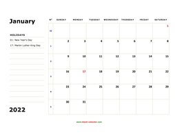 printable monthly calendar 2022, large box, space for notes