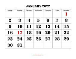 printable monthly calendar 2022 larger font