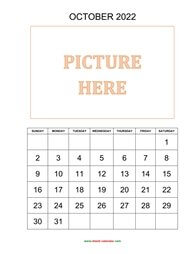 Printable October 2022 Calendar, pictures can be placed at the top (vertical)