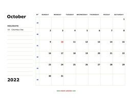 printable october calendar 2022 large box space notes