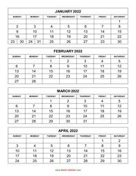 printable calendar 2022 4 months per page