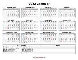 printable calendar 2022 with US holidays