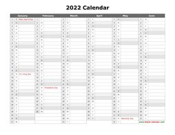 printable calendar 2022 month in column