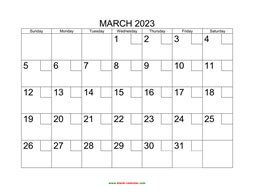 Printable March 2023 Calendar with check boxes (horizontal)