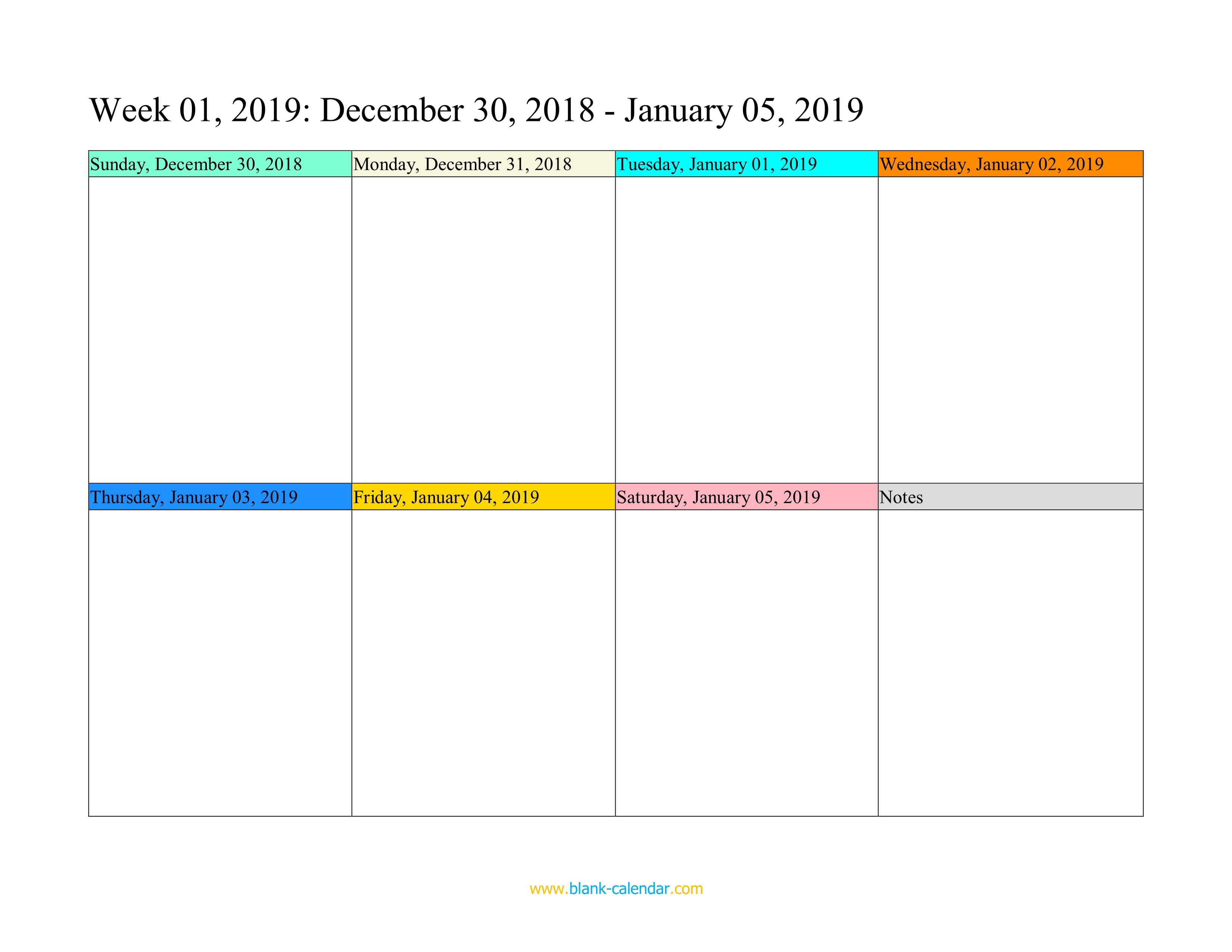 Weekly Calendar Template 2019 Weekly Calendar 2019 (WORD, EXCEL, PDF)