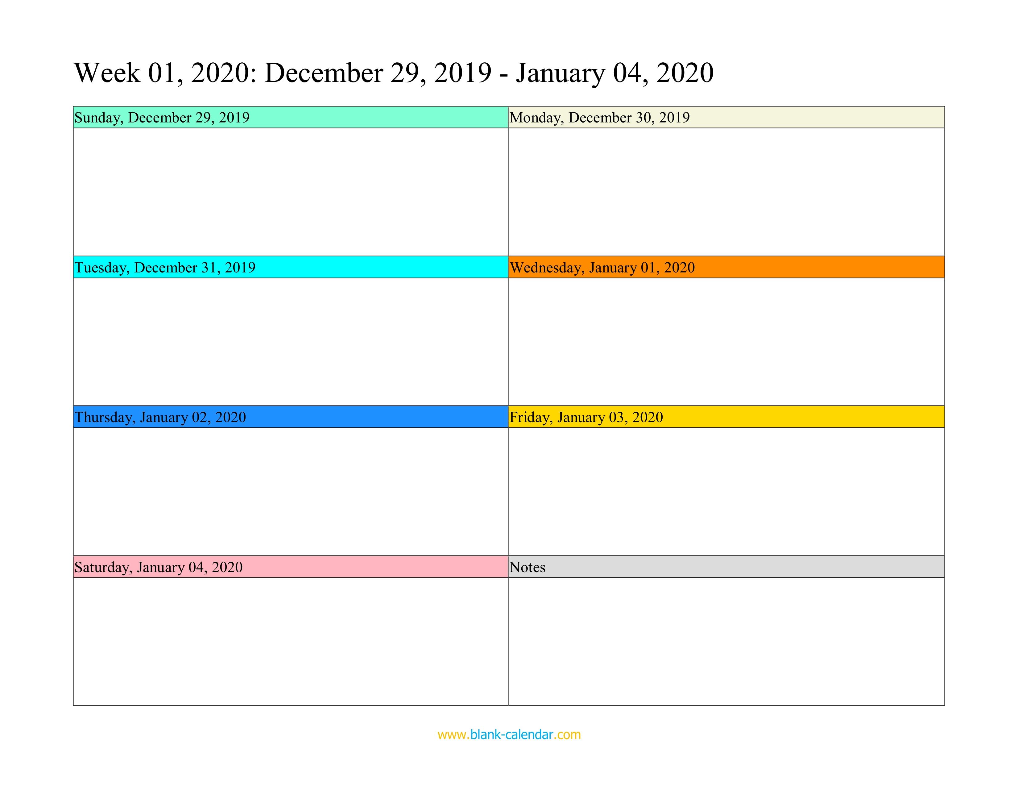 Weekly calendar 2020 word excel pdf for Free weekly calendar template
