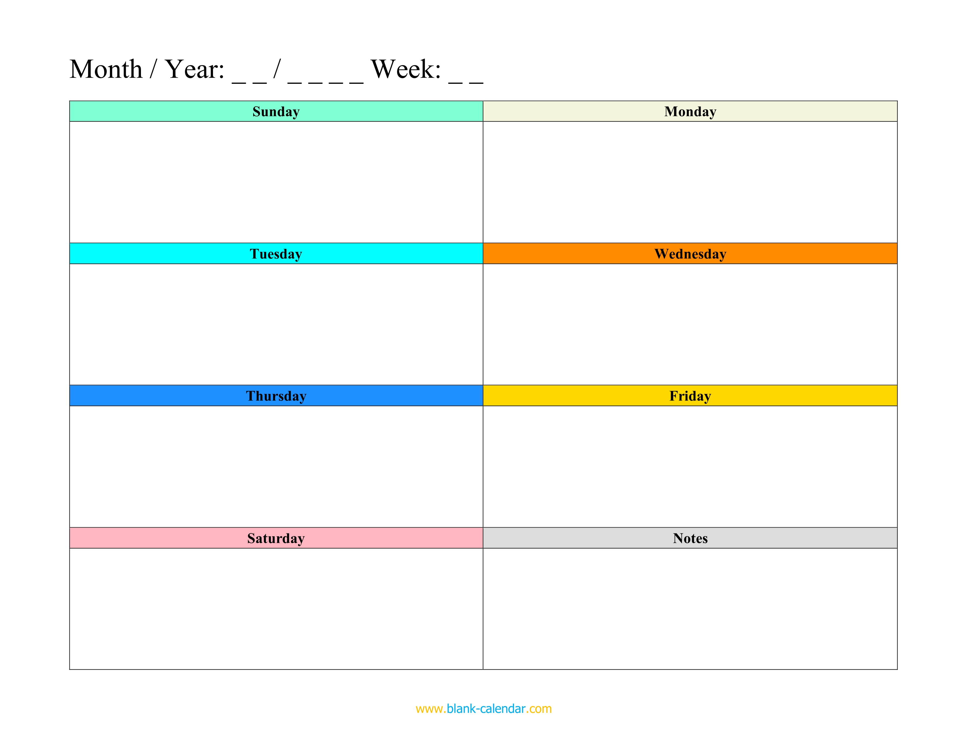 Weekly Schedule Planner Templates (WORD, EXCEL, PDF)