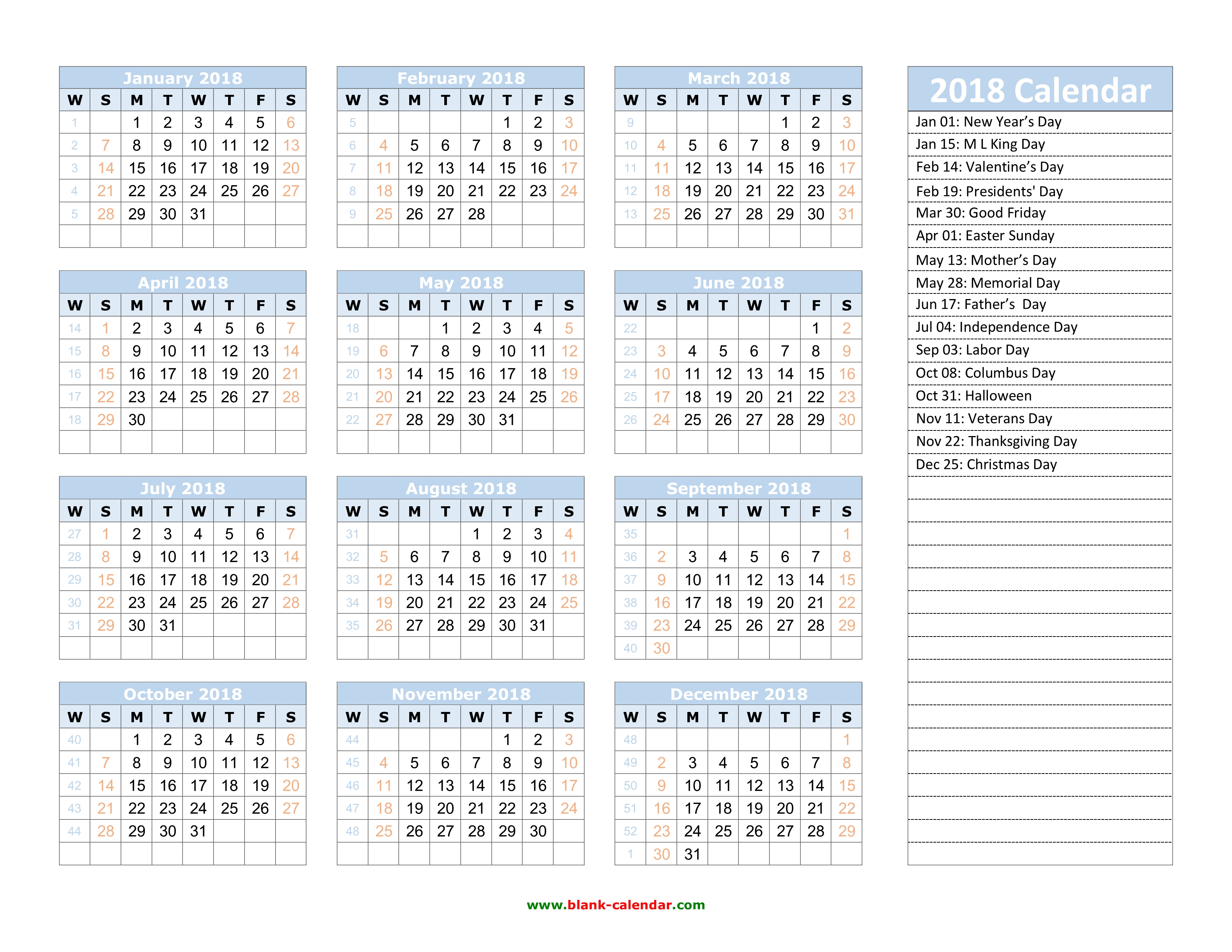 Year Calendar With Notes : Yearly calendar free download and print
