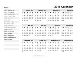 yearly calendar 2018 template 06