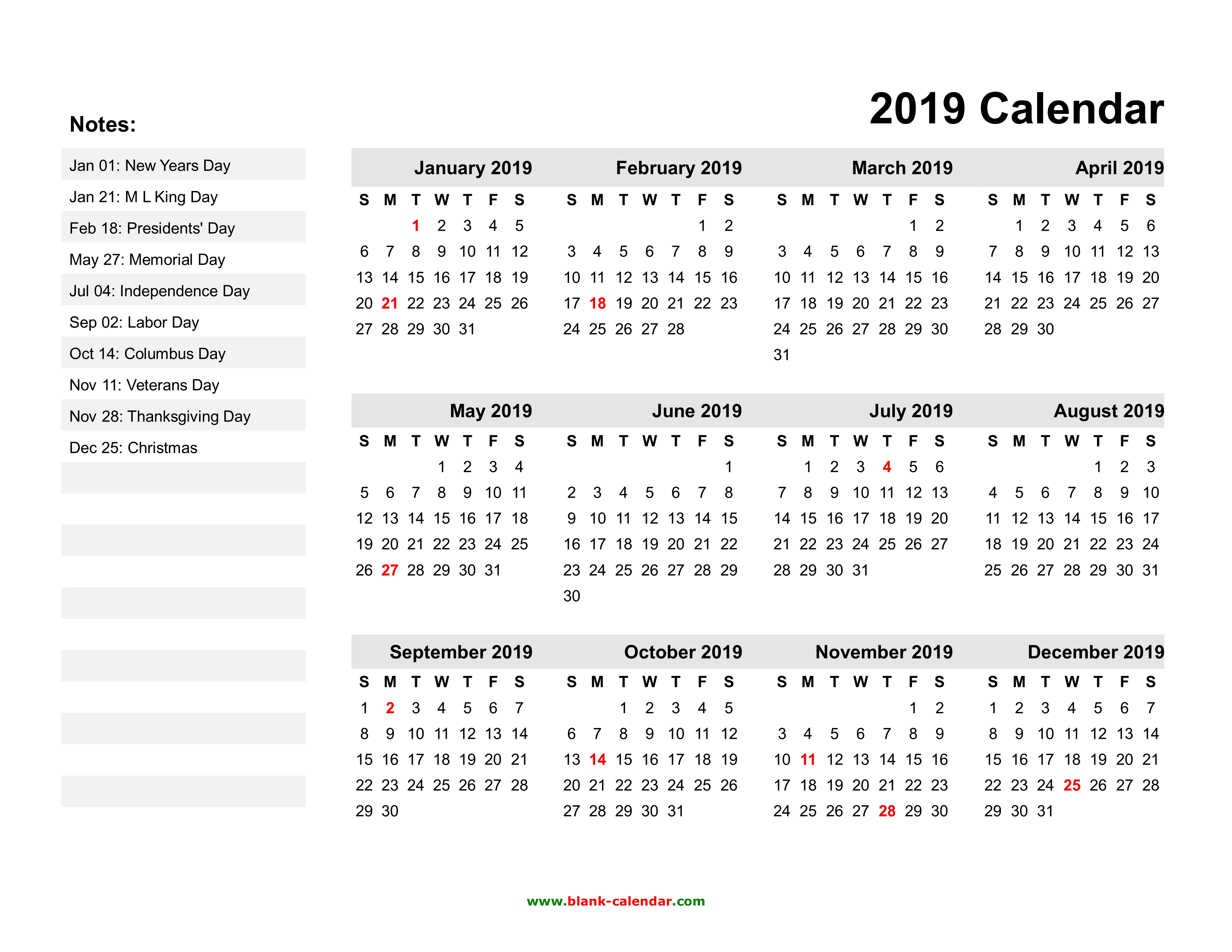 Year Calendar Free Download : Yearly calendar free download and print
