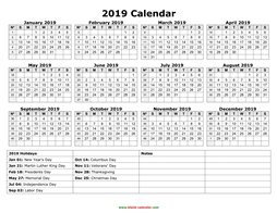 yearly calendar 2019 template 02