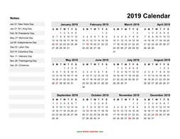yearly calendar 2019 template 06