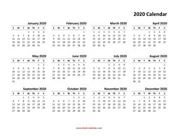 yearly calendar 2020 template 01