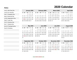 yearly calendar 2020 template 06